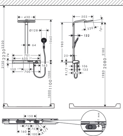 hansgrohe showerpipes rainmaker select 2 strahlarten. Black Bedroom Furniture Sets. Home Design Ideas
