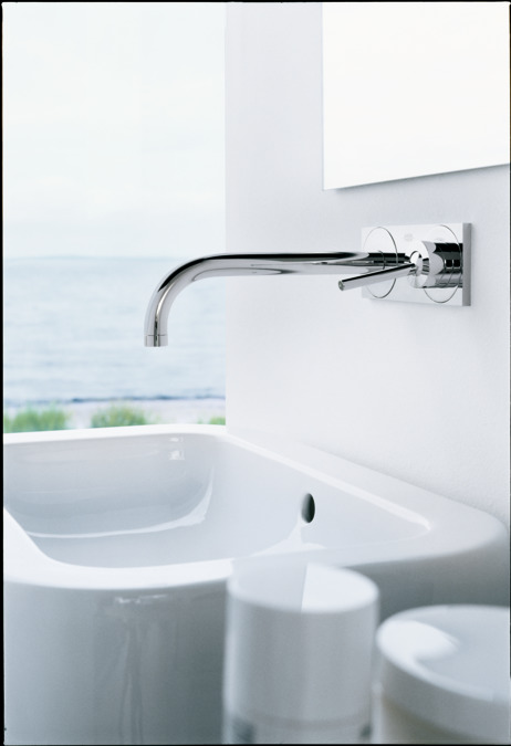 axor uno wallmounted faucet trim with base plate 12 gpm