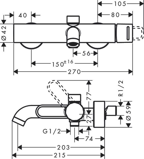 axor uno wannenarmaturen einhebel 2 verbraucher chrom 38421000. Black Bedroom Furniture Sets. Home Design Ideas