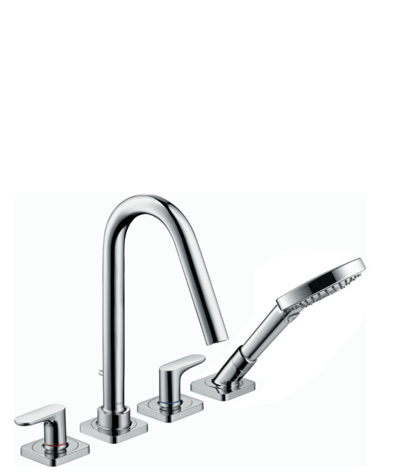 4 hole tile mounted bath mixer with lever handles and escutcheons. AXOR Citterio M Bath mixers  two handle  2 outlets  chrome  34454000