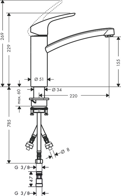 hansgrohe kuchy sk baterie focus p kov kuchy sk baterie 160 pro beztlakov oh va e vody. Black Bedroom Furniture Sets. Home Design Ideas