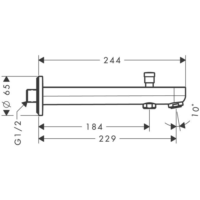 hansgrohe Bath fillers Metris S Bath spout with diverter valve