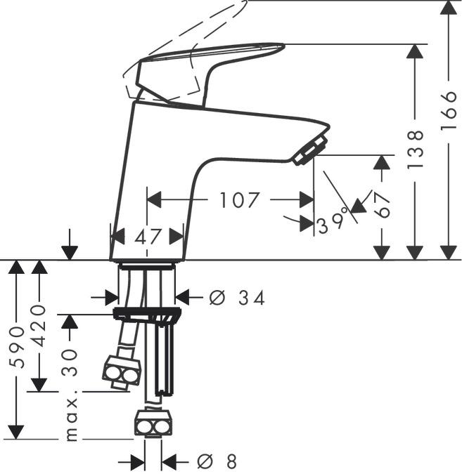 Super Logis Washbasin mixers: single lever, chrome, 71074000 MI36