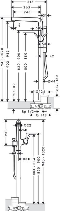 talis s wannenarmaturen 2 verbraucher chrom 72412000. Black Bedroom Furniture Sets. Home Design Ideas