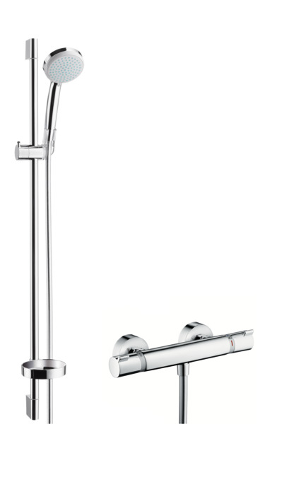 hansgrohe shower sets croma 100 ecostat comfort combi. Black Bedroom Furniture Sets. Home Design Ideas