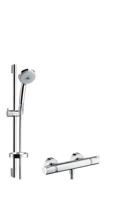 hansgrohe shower sets croma 100 shower system multi with ecostat comfort thermostatic mixer. Black Bedroom Furniture Sets. Home Design Ideas