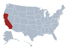 Map of California for compliant products