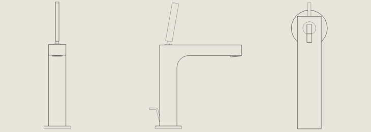 2D views of a single-hole faucet.