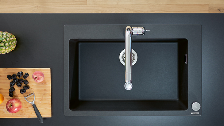 Graphite black granite built-in sinks.