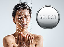 Woman with Select button from Hansgrohe