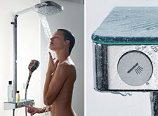 Woman enjoys showering with Raindance Select Showerpipe E 300.