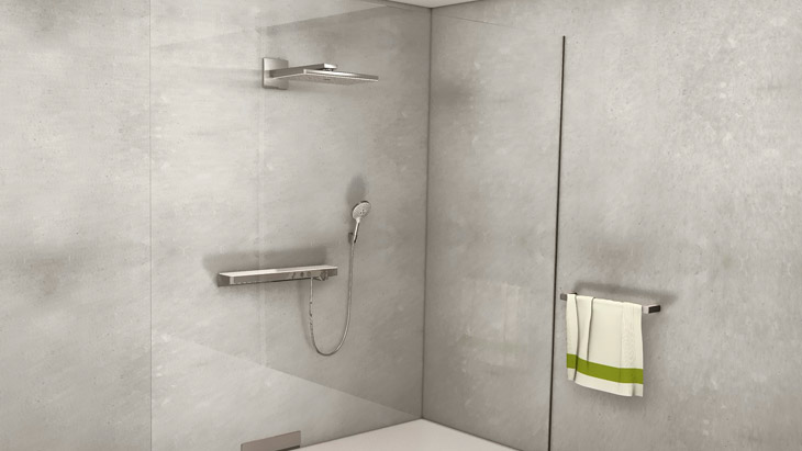 Shower featuring Hansgrohe products.