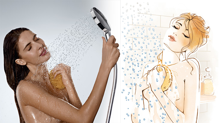 Woman showers with Hansgrohe hand shower (left), shower illustration (right)