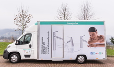Excellently equipped, in great demand: the shower truck, the mobile shower system Made by Hansgrohe.