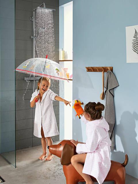 现代时尚设计的汉斯格雅淋浴系统。