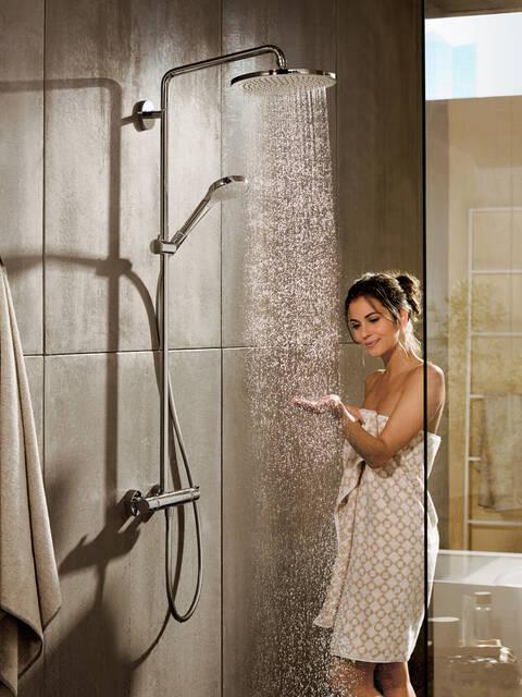 汉斯格雅的高档全套淋浴产品。