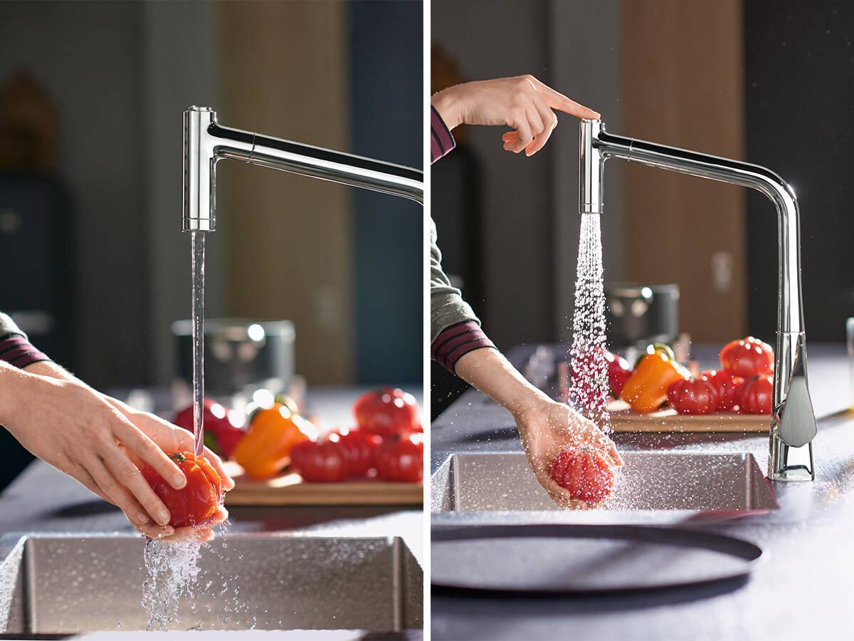 在厨房也通过汉斯格雅优选按钮切换喷淋模式。
