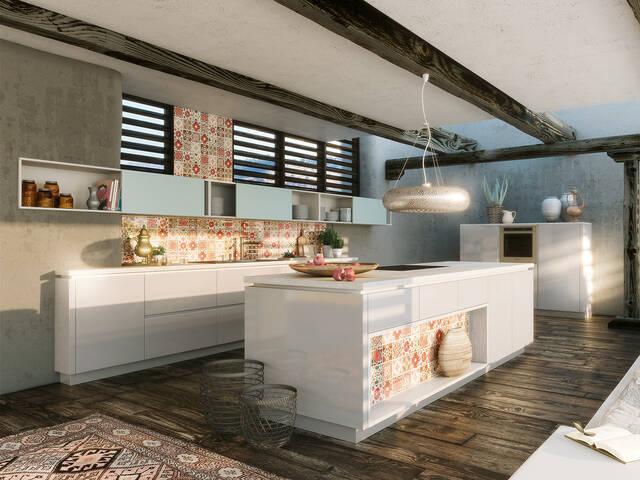 拥有烹饪台和中央操作表面的大型厨房。