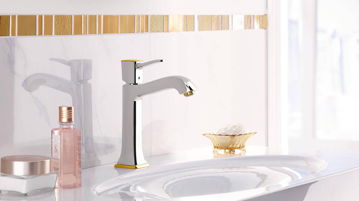 经典浴室鎏金面盆龙头
