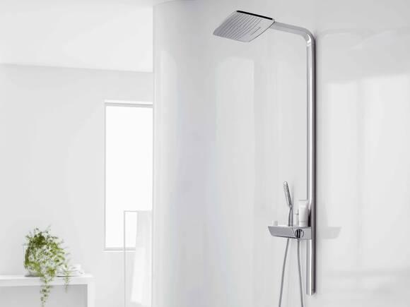 带有典雅淋浴系统、与地面齐平的淋浴区。