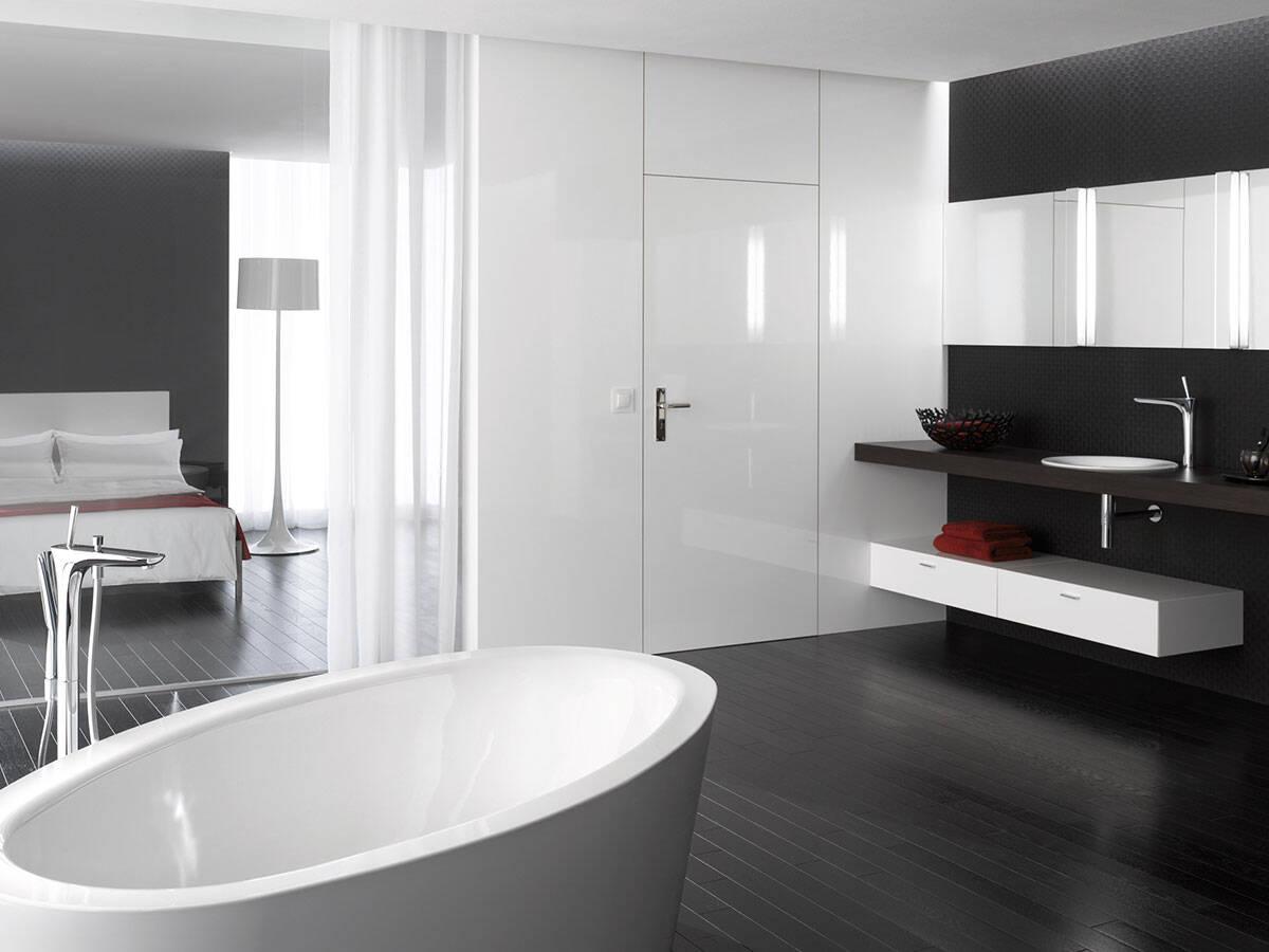 79accd29 Design et baderom i svart-hvitt – Tips og ideer   hansgrohe NO
