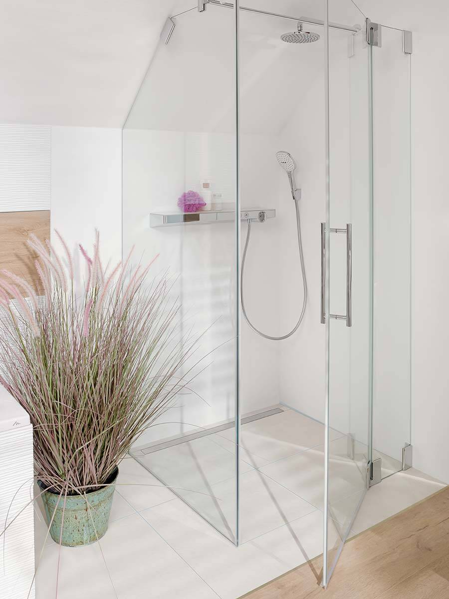 floor level shower guide to planning hansgrohe int. Black Bedroom Furniture Sets. Home Design Ideas