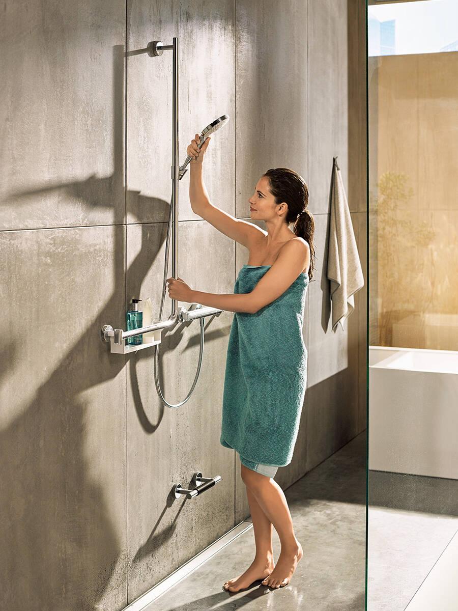 haltegriff f r die dusche t v gepr ft unica comfort hansgrohe at. Black Bedroom Furniture Sets. Home Design Ideas