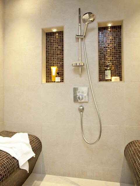 镀铬淋浴套装和存放配件的典雅墙面壁龛。