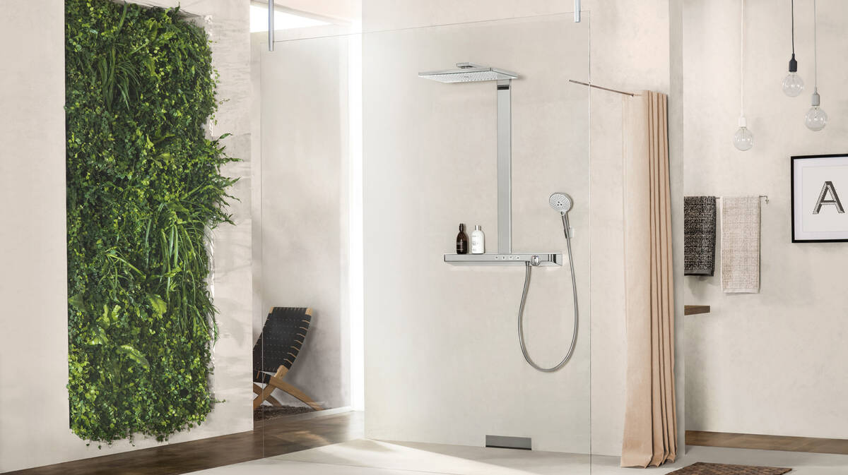 . Modern bathroom with rain shower   hansgrohe USA