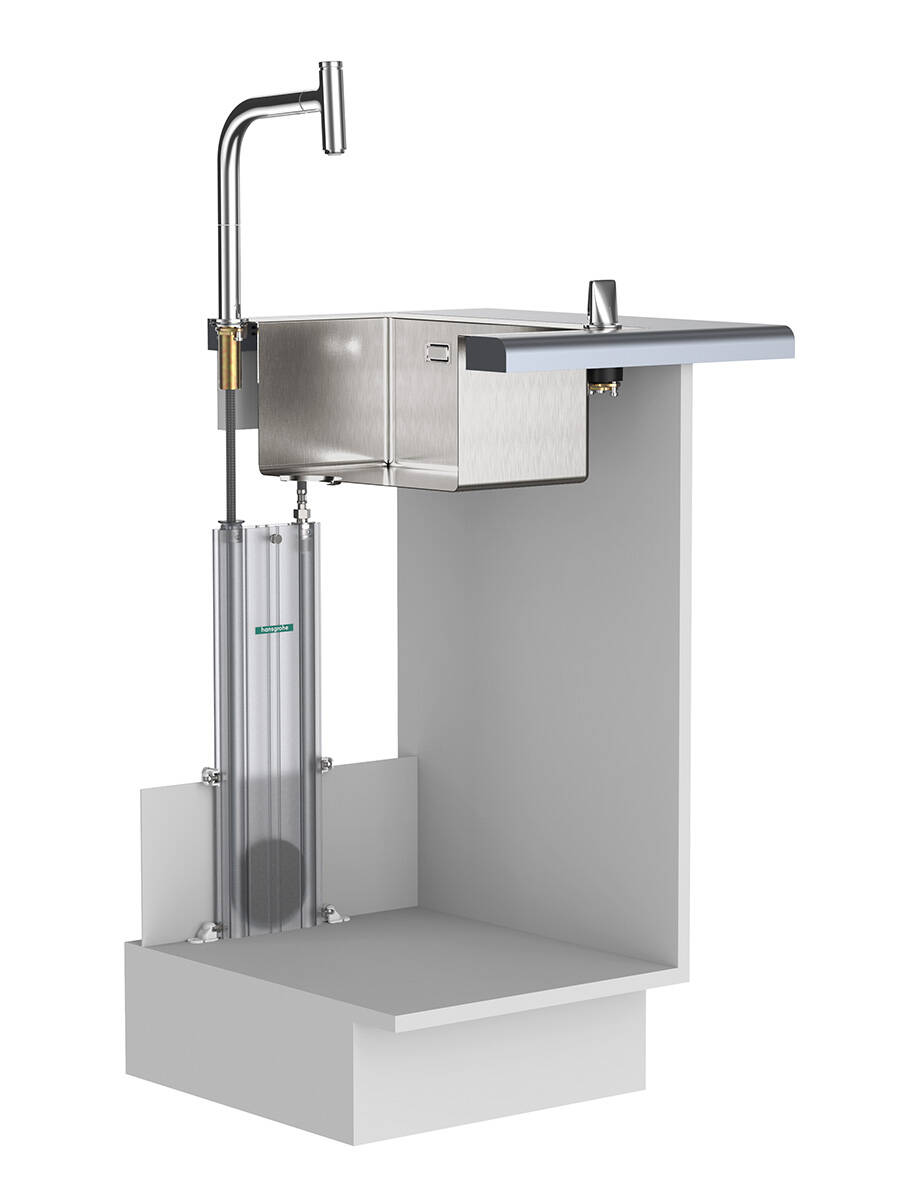 MagFit 磁性支架将花洒固定在出水口内。