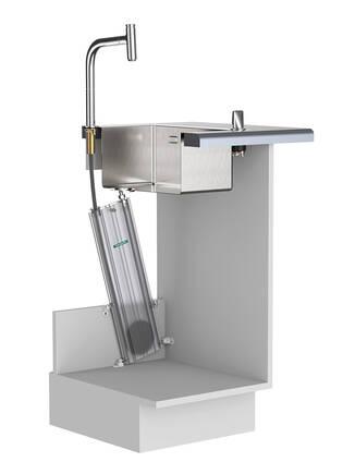 汉斯格雅 sBox 灵活安装于厨房龙头下。