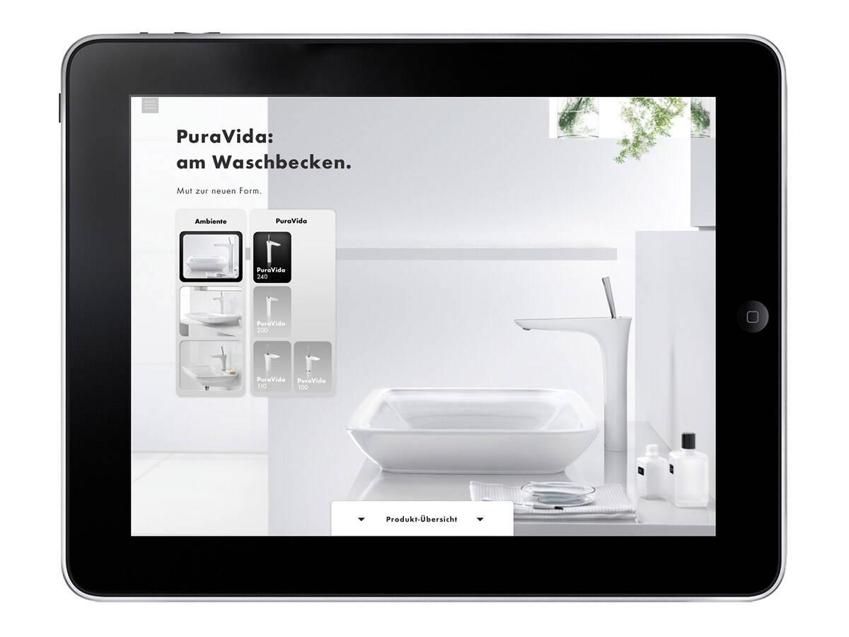 汉斯格雅 iPad App:ComfortZone 配置器。