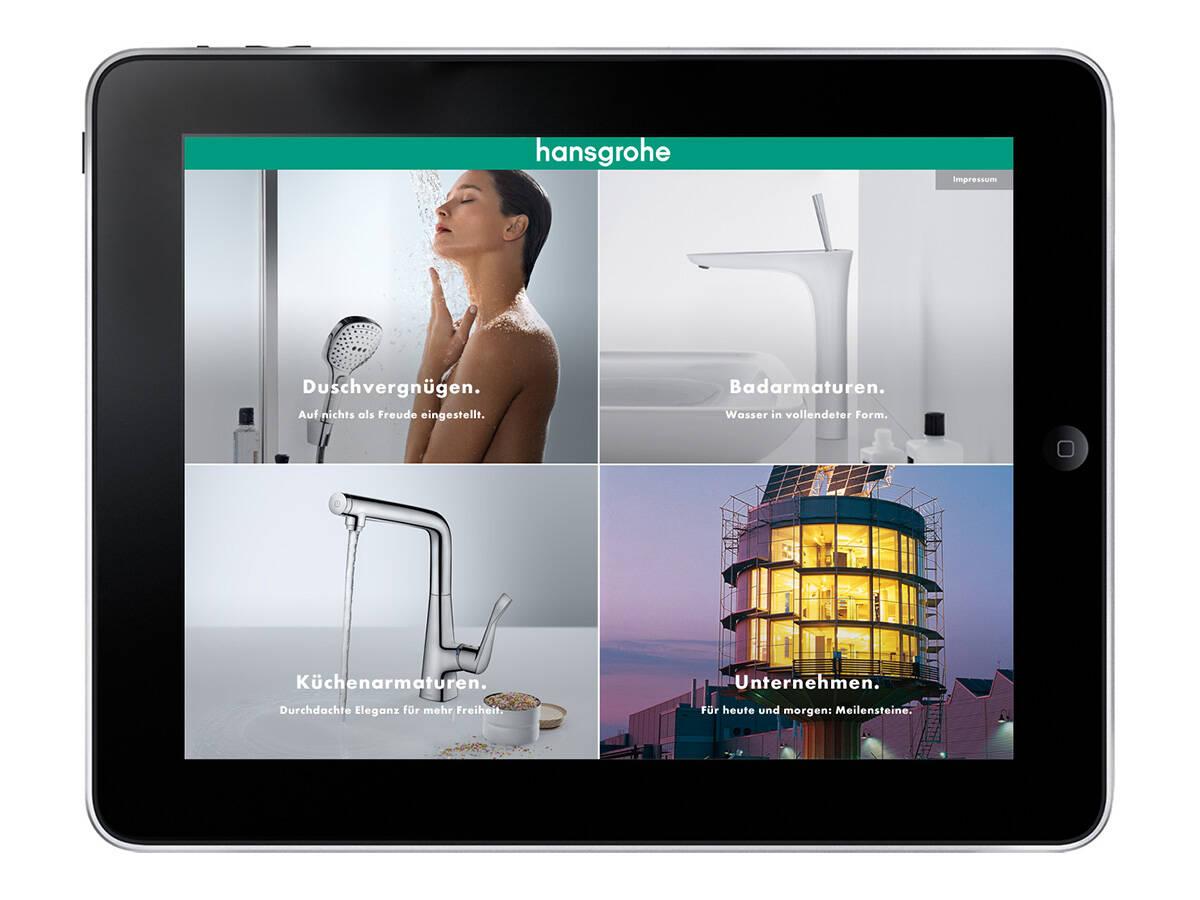 汉斯格雅 iPad App:首页。