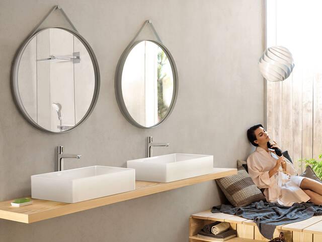 现代浴室,双洁具,创意龙头。