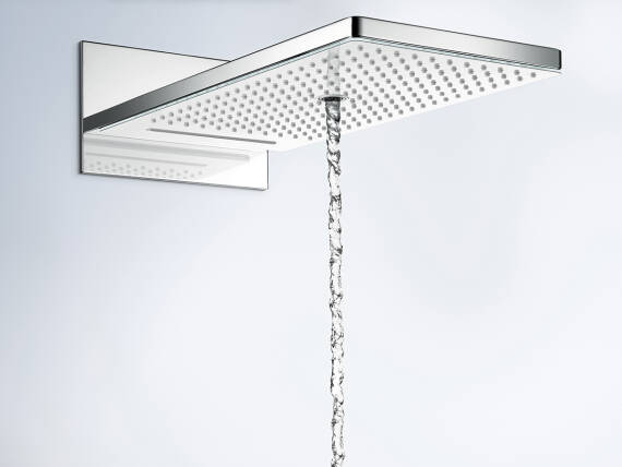The hansgrohe Crometta shower head with running water.