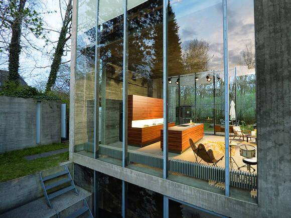 现代建筑中开放透明的厨房。
