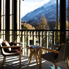 Loggia and view of the Alps.