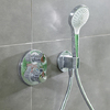 hansgrohe foam limescale remover: stains on a thermostatic mixer.
