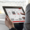 Het digitale aspect van Phoenix: intelligente app voor tablet of smartphoon, hier met het interface design voor Internorm.