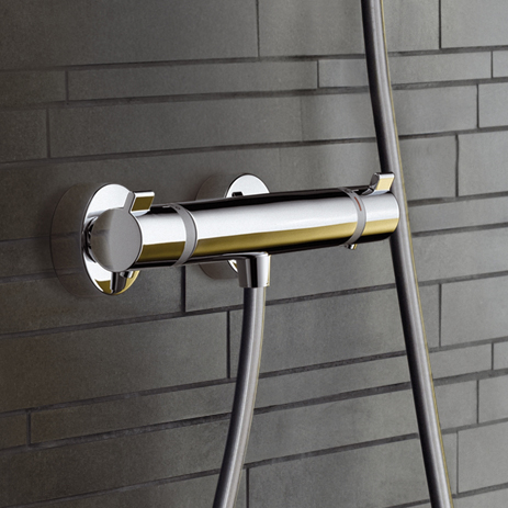 Control showers with a thermostatic mixer and Ecostat   Hansgrohe INT