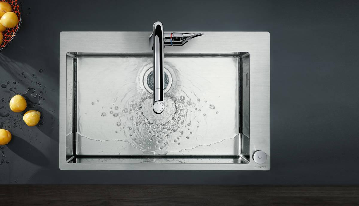 Hansgrohe miscelatori cucina m71 m7120 h320 miscelatore cucina monocomando a 2 fori con - Miscelatore cucina con doccetta estraibile ...