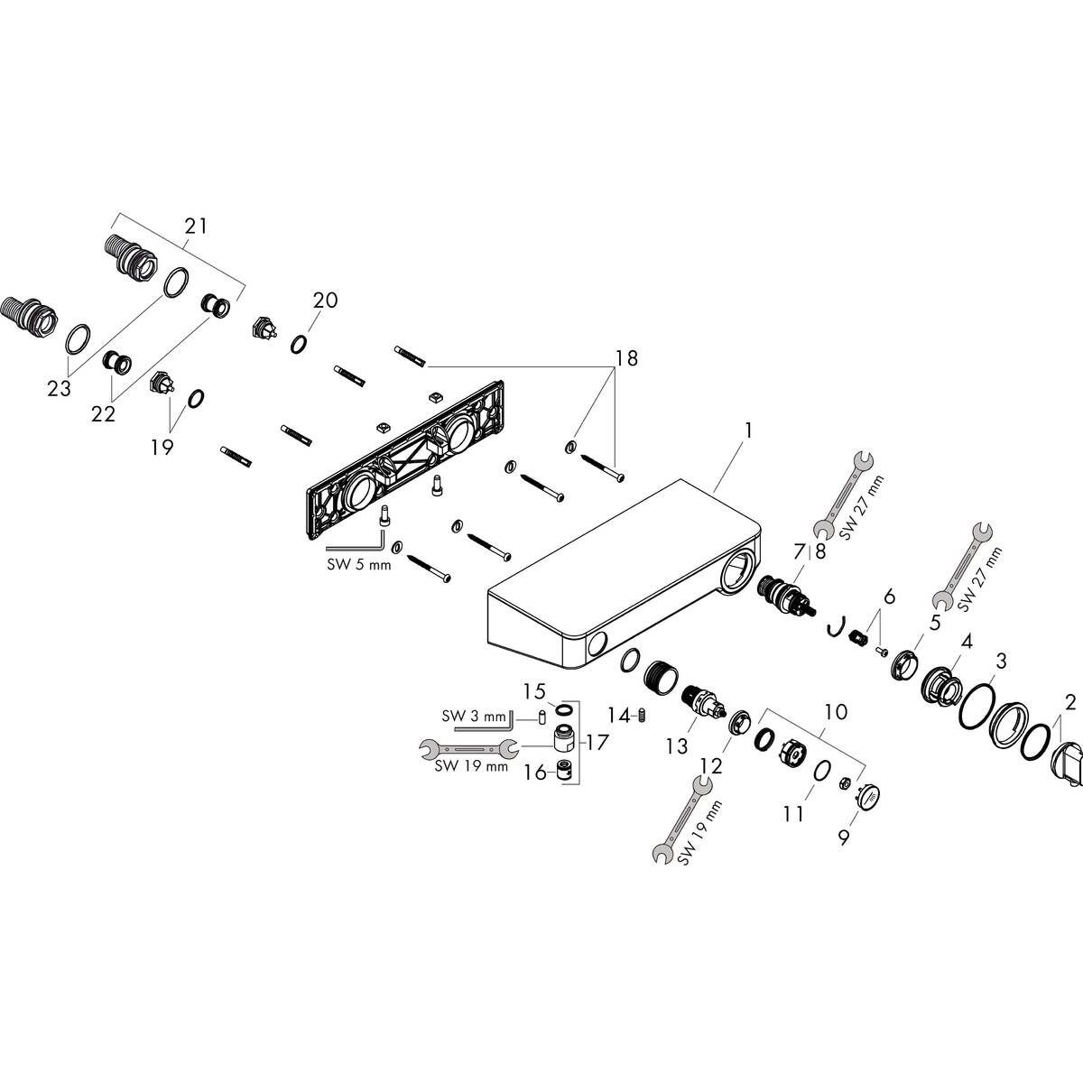 ShowerTablet Select Grifería de ducha: bimando, 1 elemento