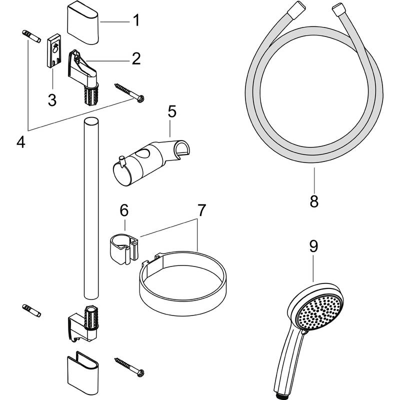 hansgrohe Wallbar sets: Croma 100, Shower set Vario