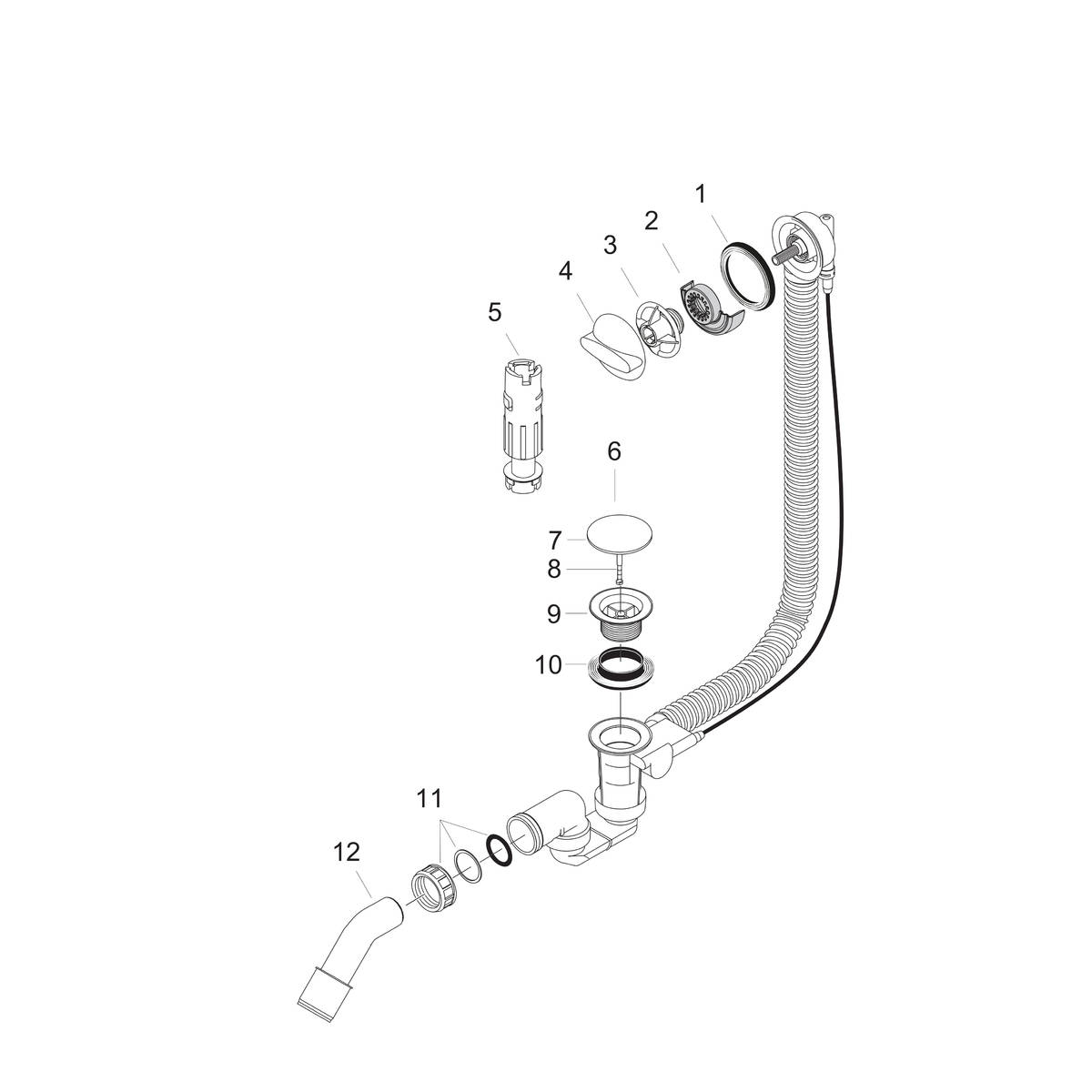 hansgrohe Basic set for bath filler with waste and