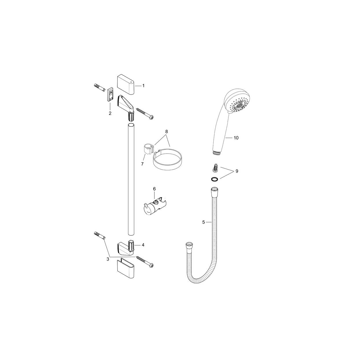hansgrohe sets de douche crometta 85 set crometta 85 multi unica 39 crometta 0 65 m n. Black Bedroom Furniture Sets. Home Design Ideas