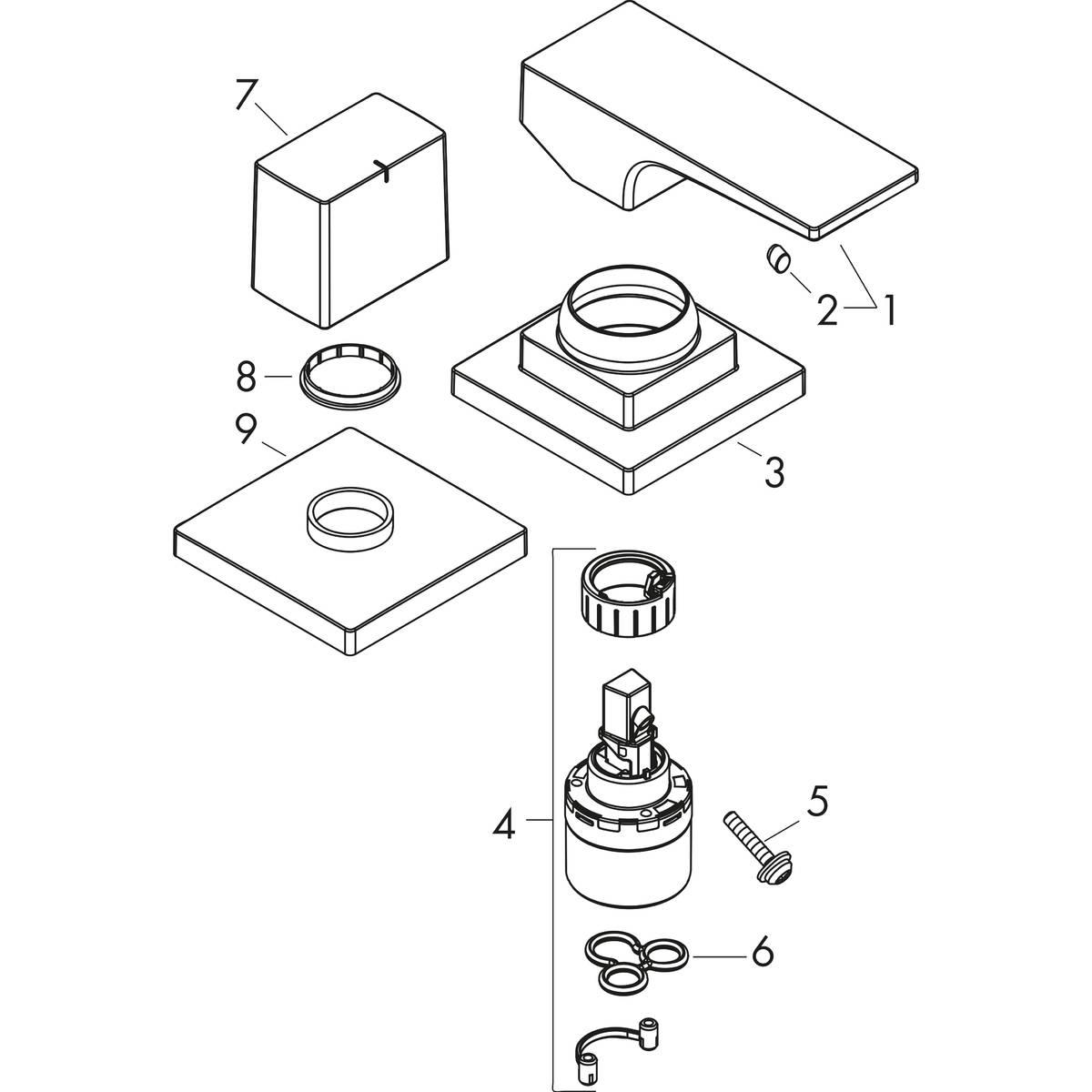 hansgrohe Metropol, 2-hole rim-mounted manual single lever