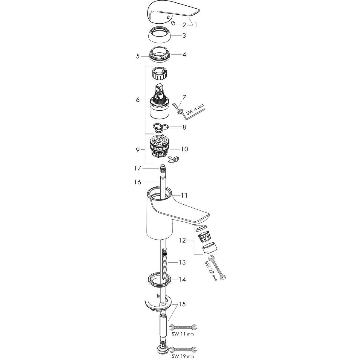 Novus Mitigeurs de lavabo: chromé, N° article 71050000