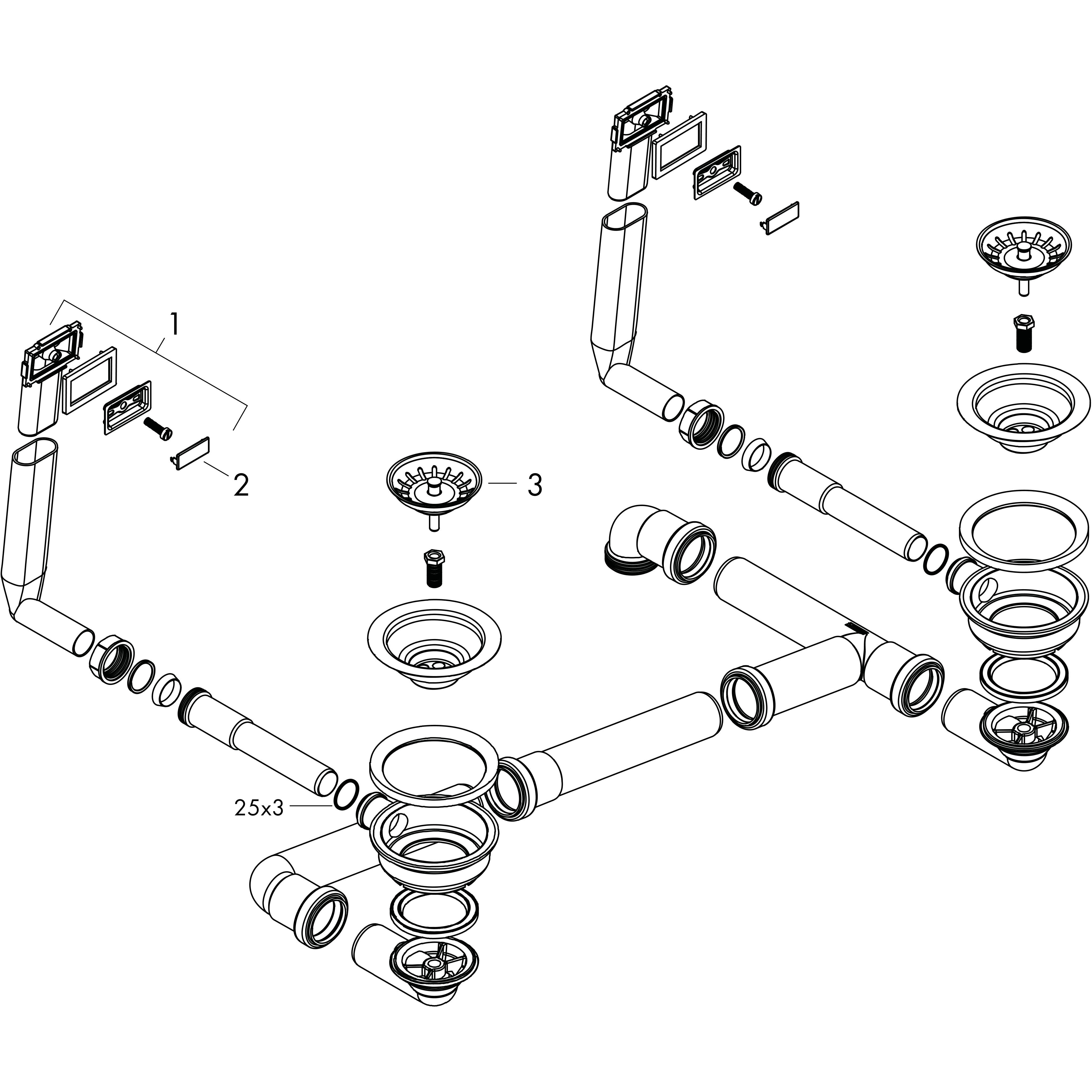 edelstahl D15-10 und /Überlaufgarnitur f/ür Doppelbecken hansgrohe Manuelle Ab