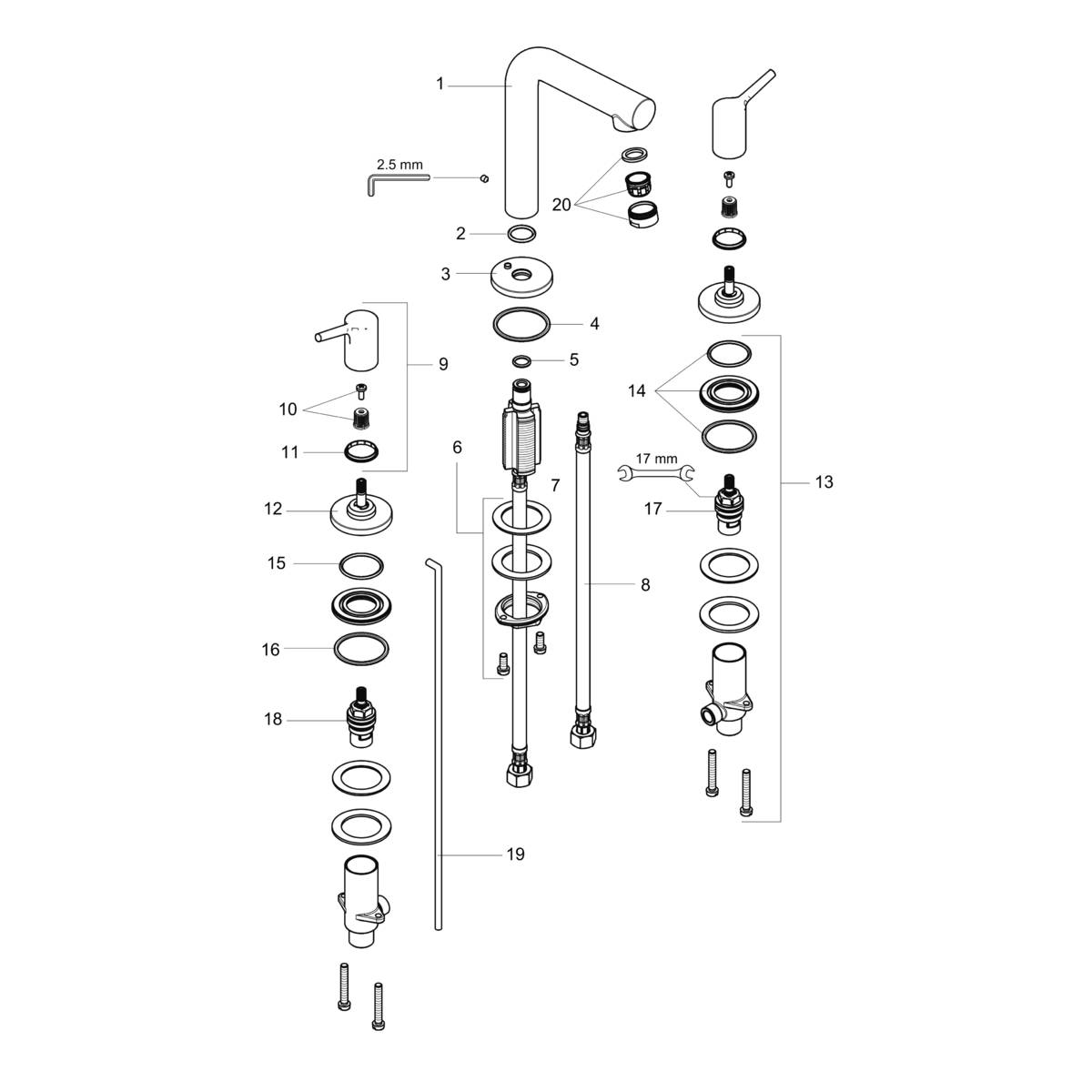 Talis S Washbasin Faucets Chrome Art No 72130001 Hansgrohe Usa Mm 2 58t Wiring Diagram For Thermostat Spare Parts Product