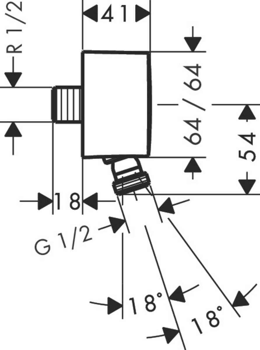 hansgrohe wandanschlussbogen fixfit wandanschluss mit r ckflussverhinderer und kugelgelenk. Black Bedroom Furniture Sets. Home Design Ideas